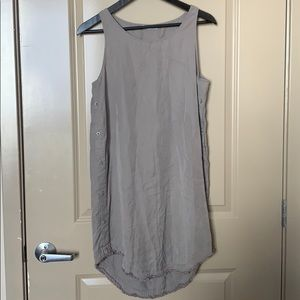 Light grey tank top shift dress with side buttons